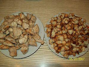 курица и сухарики для  цезарь
