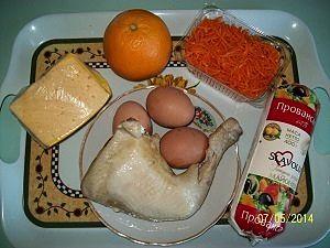 продукты для салата с курицей и морковкой