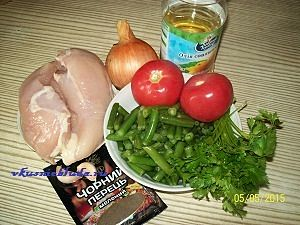 ингредиенты для спаржевой фасоли с курицей