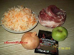 ингредиенты для тушеной квашеной капусты