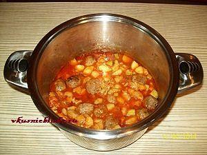 готовый овощной суп с фрикадельками