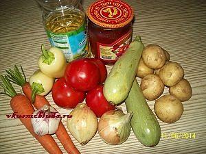 ингредиенты для овощного супа с фрикадельками