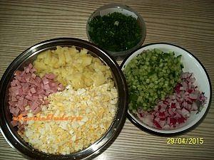 нарезанные продукты для окрошки