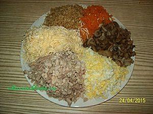 продукты для салата с курицей и грибами