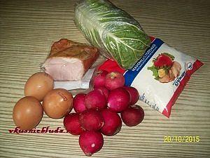 продукты для салата с капустой и ветчиной