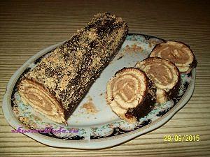 бисквитный рулет с шоколадным кремом