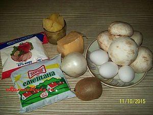 ингредиенты для салата с курицей и фруктами