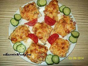 запеченная скумбрия с овощами и сыром