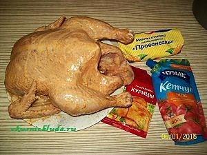 домашняя курица в маринаде