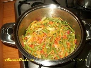 спаржевая фасоль и овощи