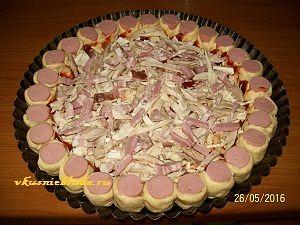 сосиски и курица для пирога