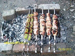 свиной шашлык и овощи