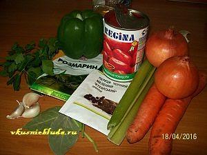 ингредиенты для тушеной курицы с овощами