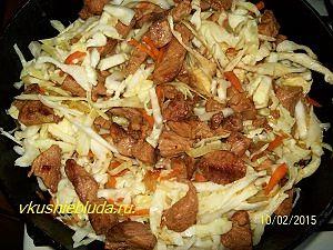 рецепт жареной капусты с мясом