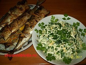 салат с черемшой к рыбе