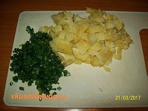 картошка зелёный лук