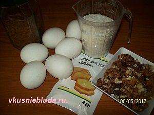 ингредиенты для кофейного бисквита