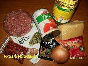 ингредиенты для пасты с фаршем