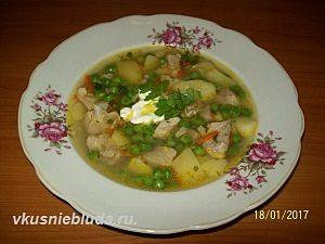 суп картофельный с горошком