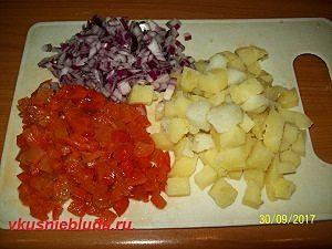 нарезка лука перца картошки