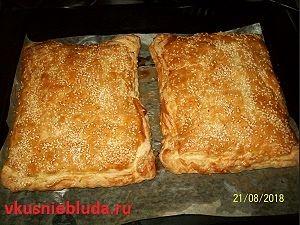 рецепт слоёный пирог с мясом
