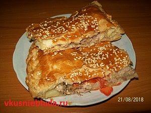 слоёный пирог с мясом