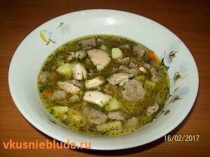суп с гречневыми клёцками