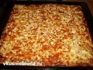 рецепт тонкая пицца на противне