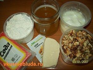 мёд мука орехи сода кефир