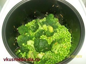 рецепт риса с брокколи и горошком
