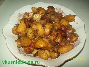 картошка с колбасками