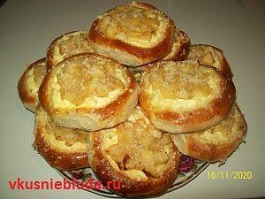 рецепт ватрушки с творогом и яблоками