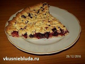 песочный пирог с вишнями