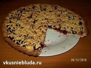 рецепт песочный пирог с вишнями