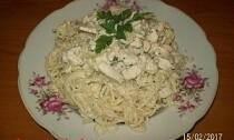 спагетти с куриным соусом