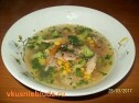 Суп с брокколи и кукурузой.